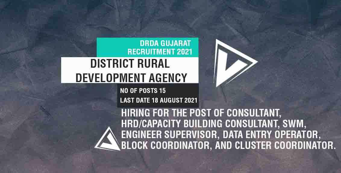 DRDA Gujarat Recruitment 2021 Job Listing thumbnail.