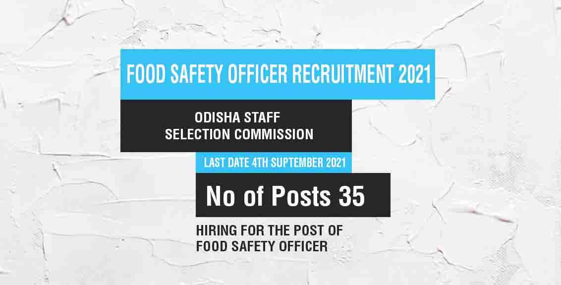 Food Safety Officer Recruitment 2021 Job Listing thumbnail.