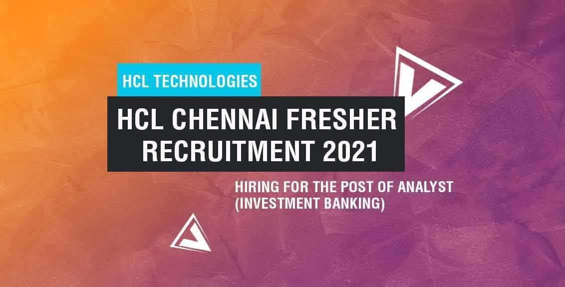 HCL Chennai Fresher Recruitment 2021 Job Listing Thumbnail.