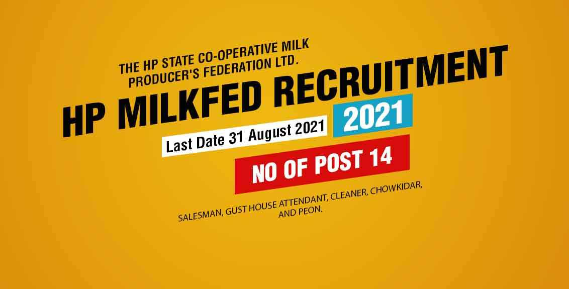 HP Milkfed Recruitment 2021 job listing thumbnail.
