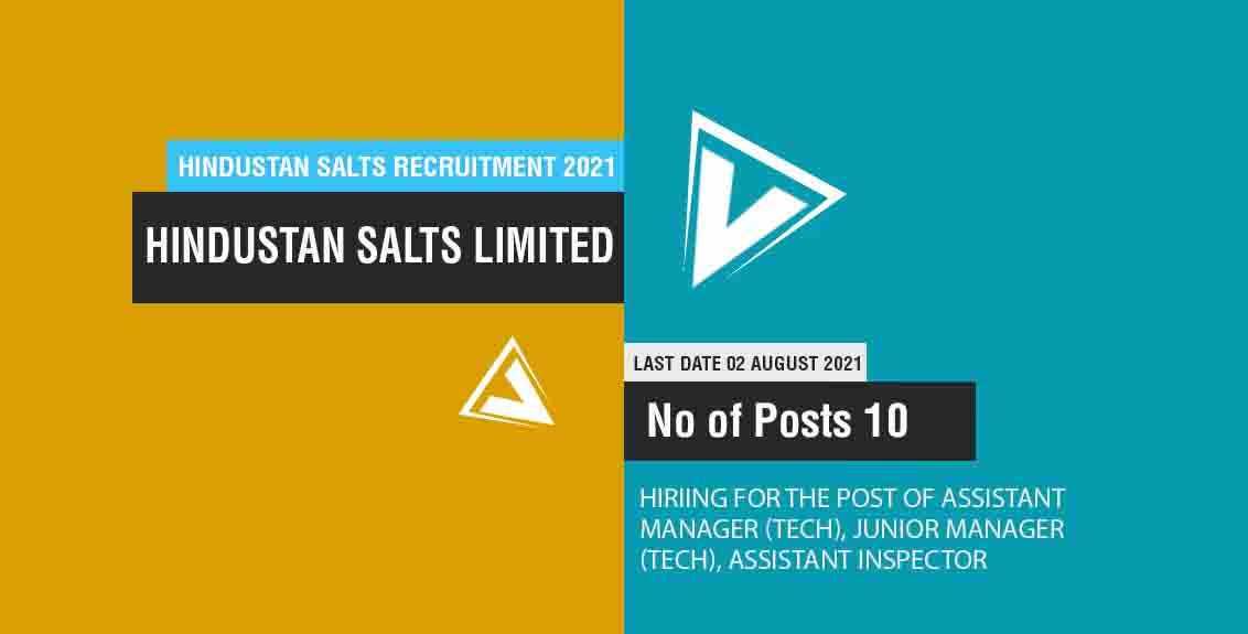 Hindustan Salts Recruitment 2021 Job Listing thumbnail.