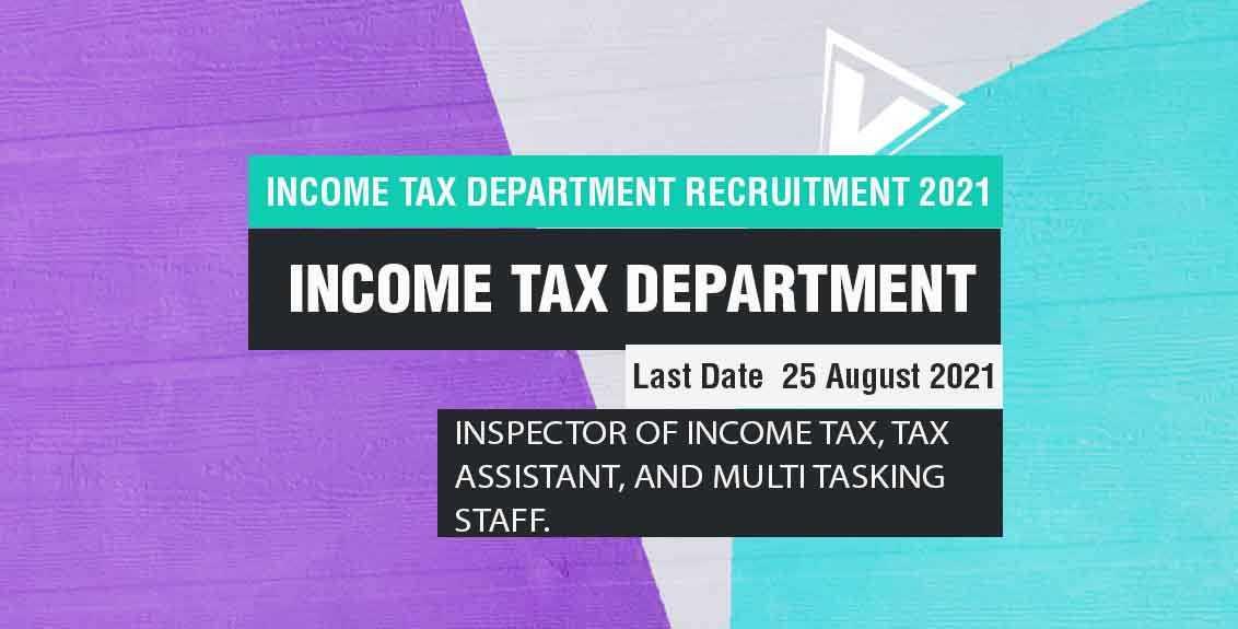 Income Tax Department Recruitment 2021 Job Listing thumbnail.