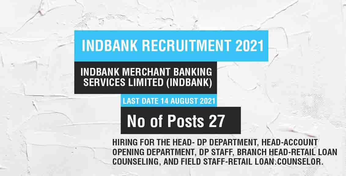 Indbank Recruitment 2021 Job Listing thumbnail.