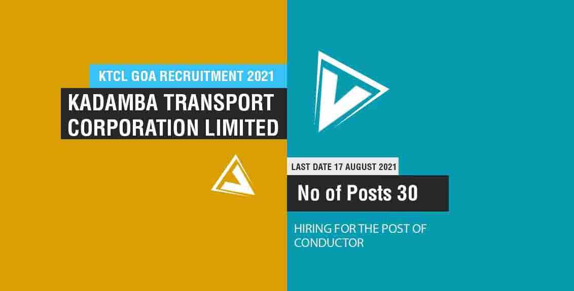KTCL Goa Recruitment 2021 Job Listing thumbnail.