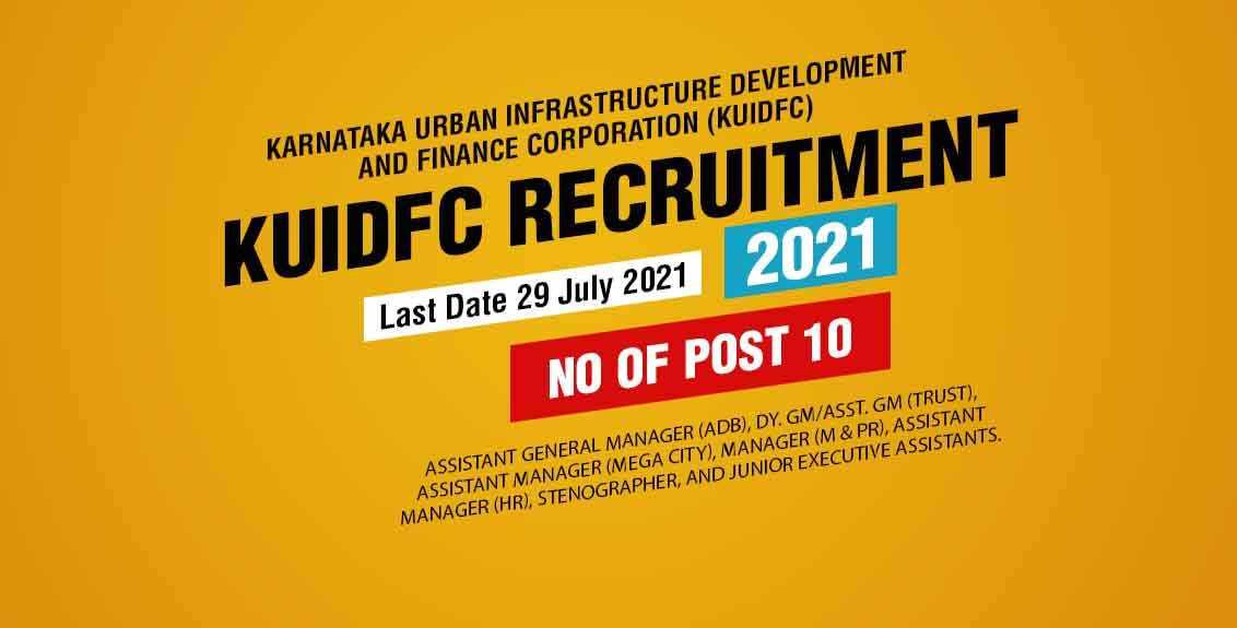 KUIDFC Recruitment 2021 Job Listing thumbnail.
