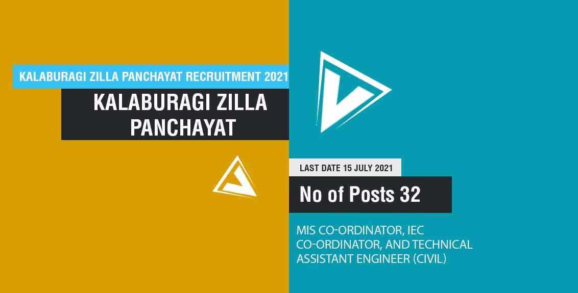 Kalaburagi Zilla Panchayat Recruitment 2021 Job listing thumbnail.