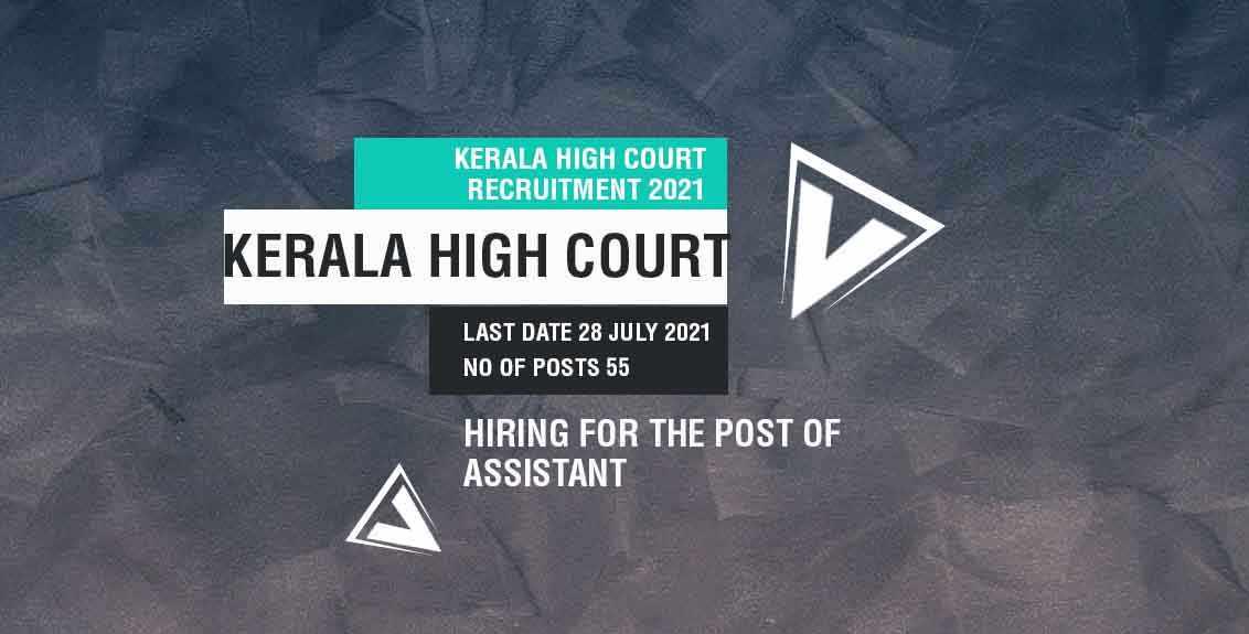 Kerala High Court Recruitment 2021 job listing thumbnail.