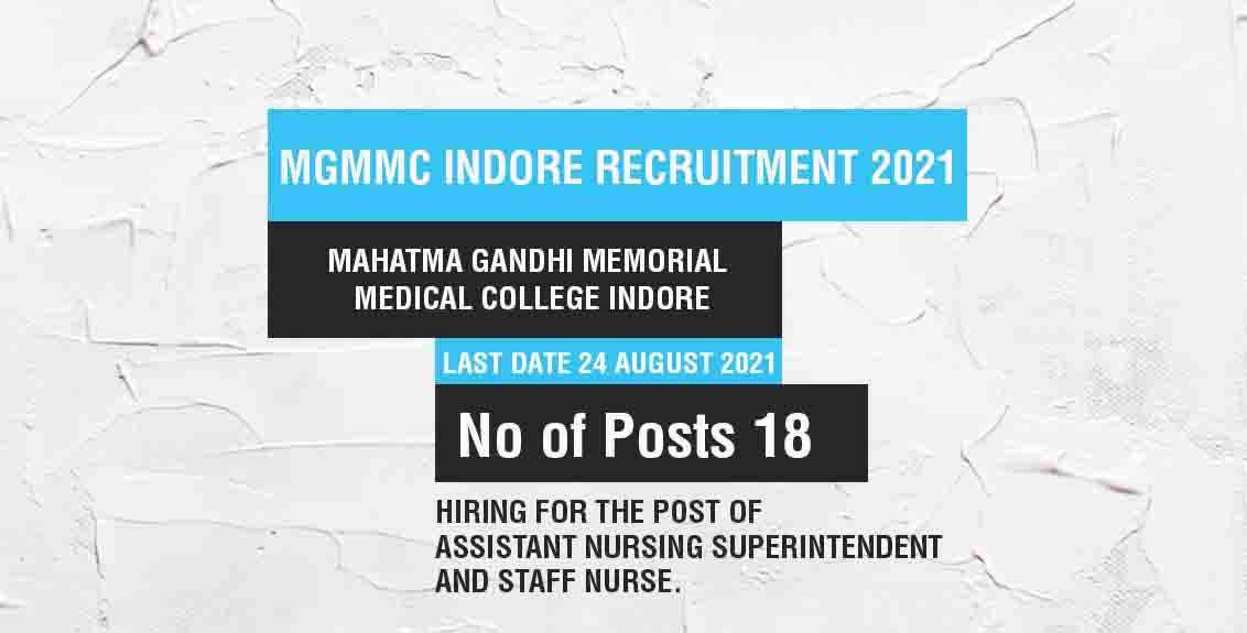 MGMMC Indore Recruitment 2021 Job Listing thumbnail.