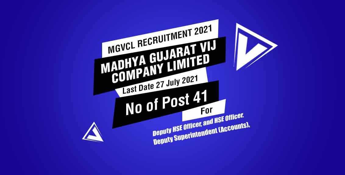 MGVCL Recruitment 2021 Job Listing thumbnail.