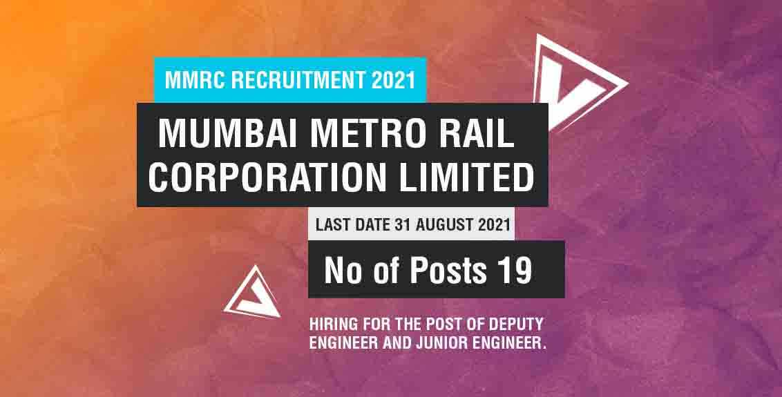 MMRC Recruitment 2021 Job Listing thumbnail.