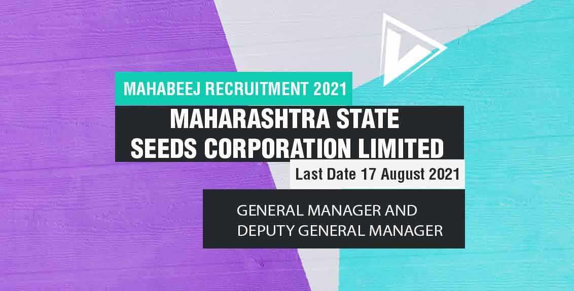 Mahabeej Recruitment 2021 Job Listing thumbnail.