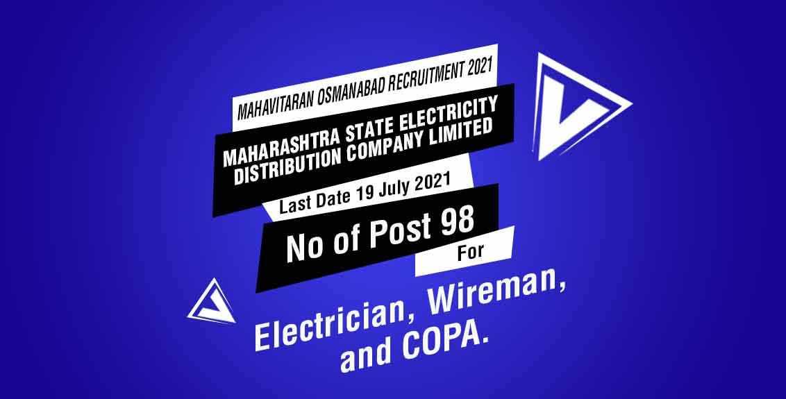 Mahavitaran Osmanabad Recruitment 2021 Job listing thumbnail.