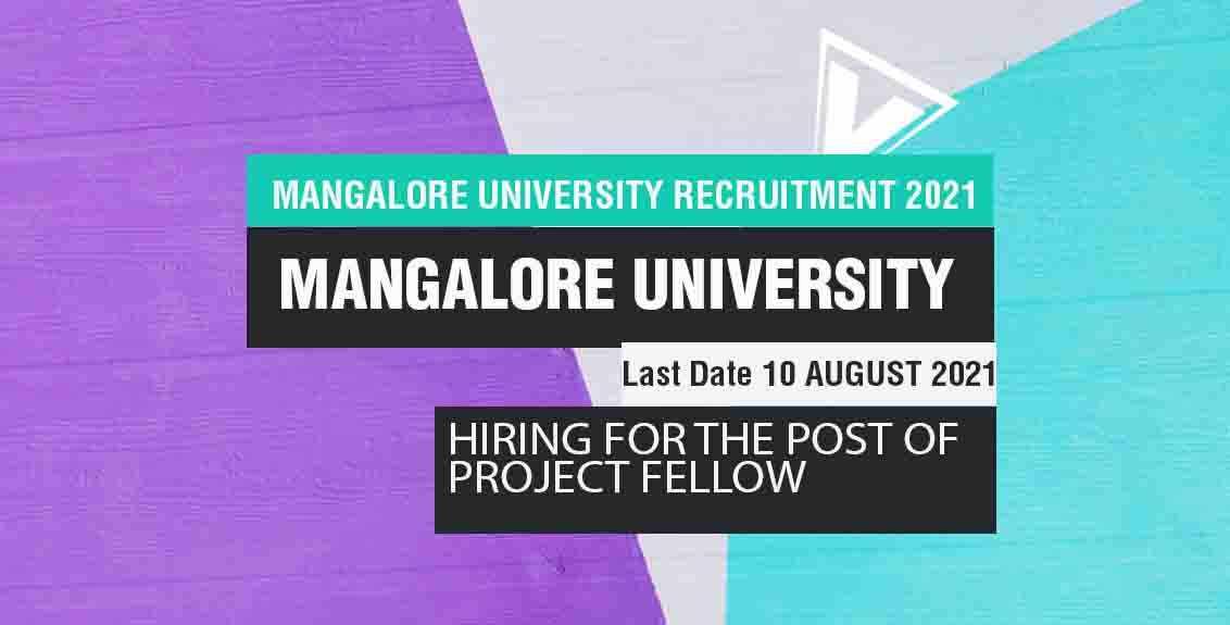 Mangalore University Recruitment 2021 Job Listing thumbnail.