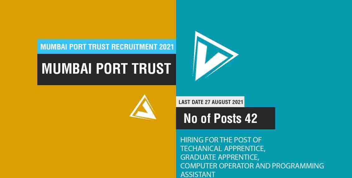 Mumbai Port Trust Recruitment 2021 Job Listing thumbnail.