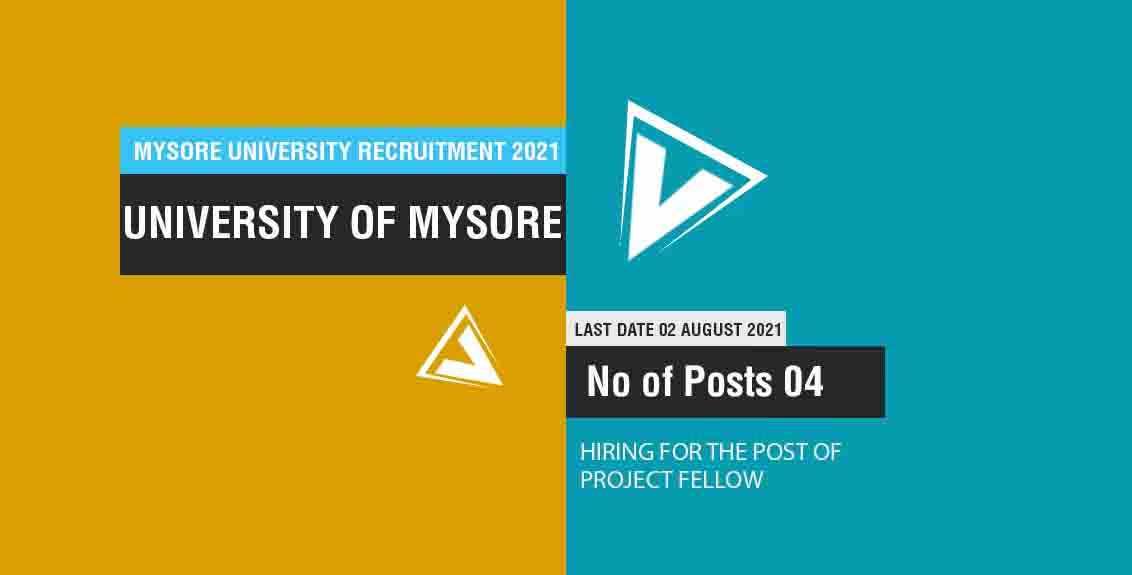 Mysore University Recruitment 2021 Job Listing thumbnail.