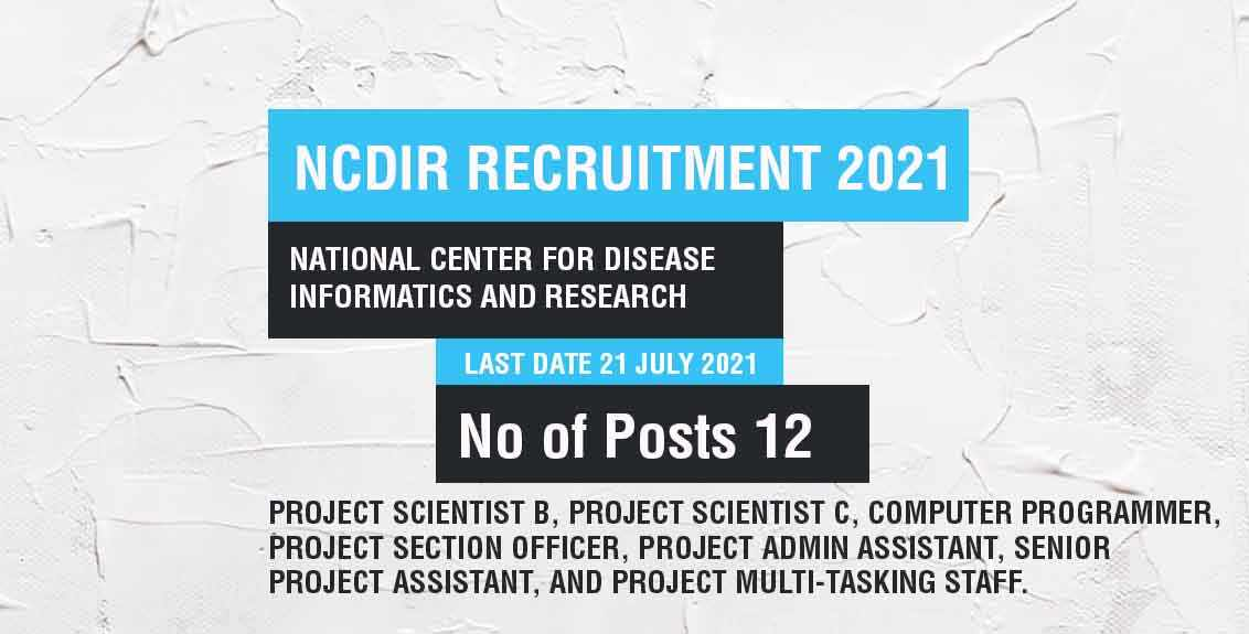NCDIR Recruitment 2021 Job Listing thumbnail.