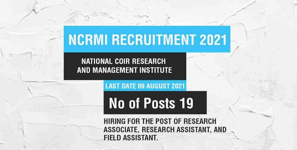 NCRMI Recruitment 2021 Job Listing thumbnail.
