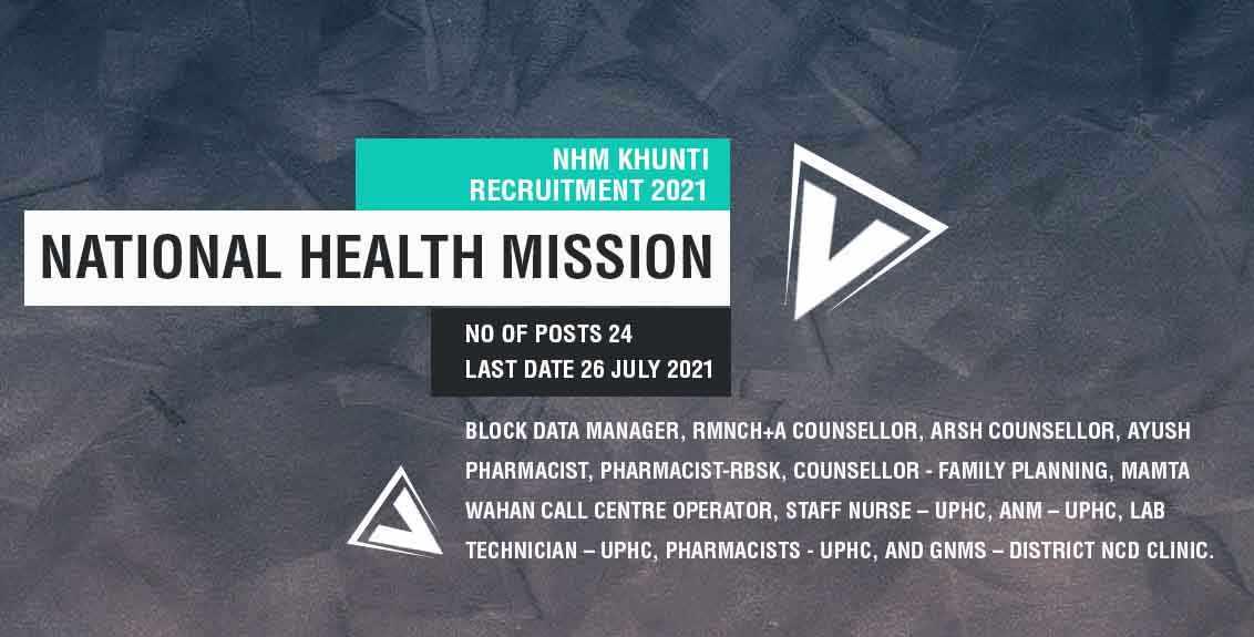 NHM Khunti Recruitment 2021 Job Listing thumbnail.