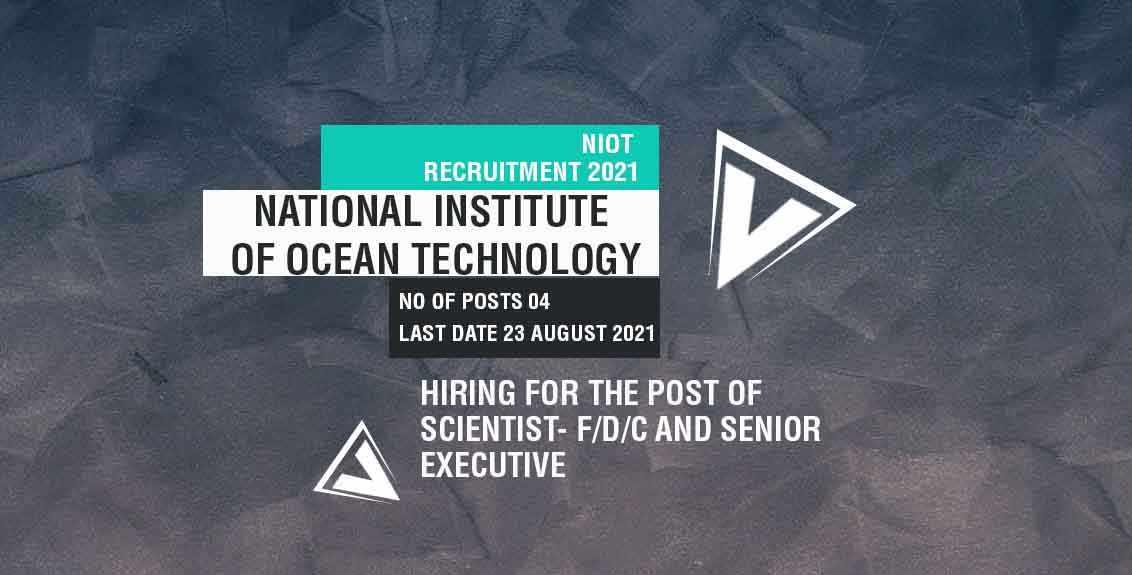 NIOT Recruitment 2021 Job Listing thumbnail.