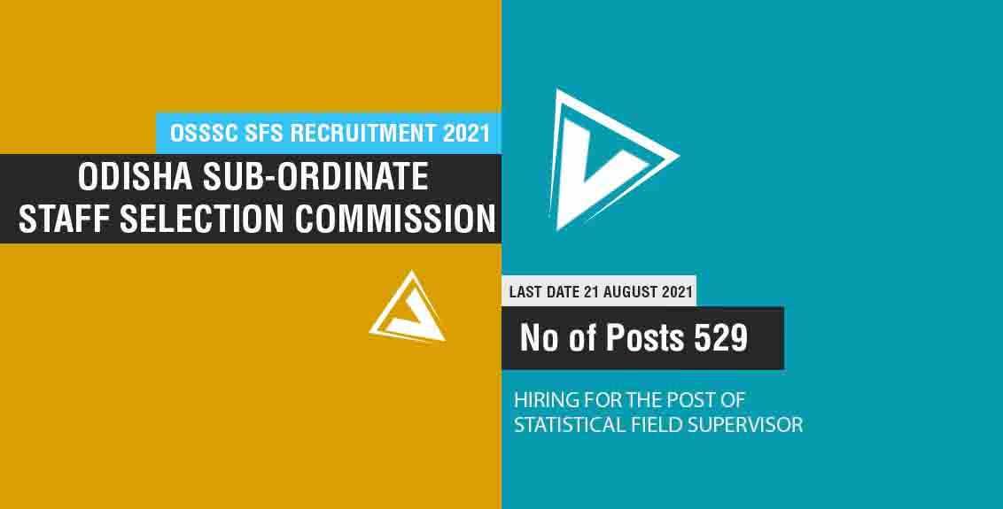 OSSSC SFS Recruitment 2021 Job Listing thumbnail.