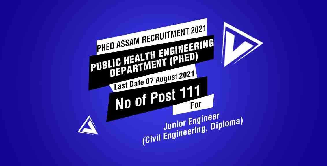 PHED Assam Recruitment 2021 Job Listing thumbnail.
