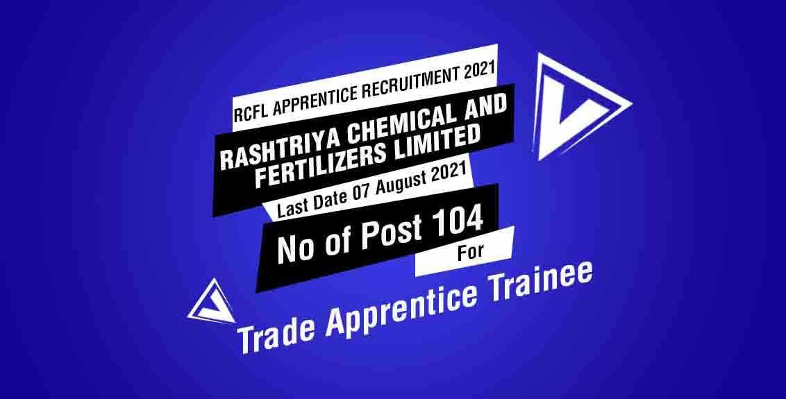 RCFL Apprentice Recruitment 2021 Job Listing thumbnail.