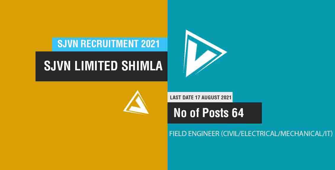 SJVN Recruitment 2021 Job Listing thumbnail.