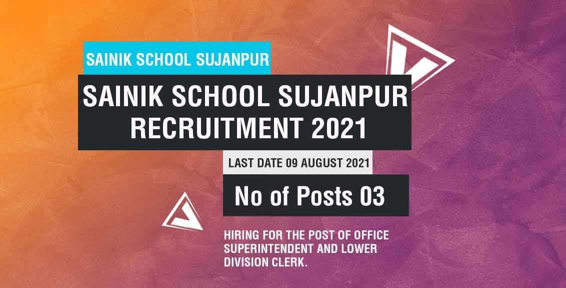 Sainik School Sujanpur Recruitment 2021 Job Listing thumbnail.