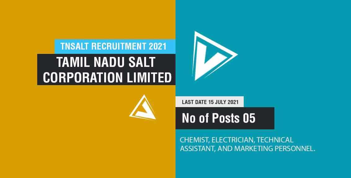 TNSALT Recruitment 2021 Job Listing thumbnail.
