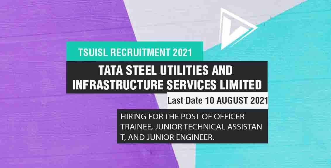 TSUISL Recruitment 2021 Job Listing thumbnail.