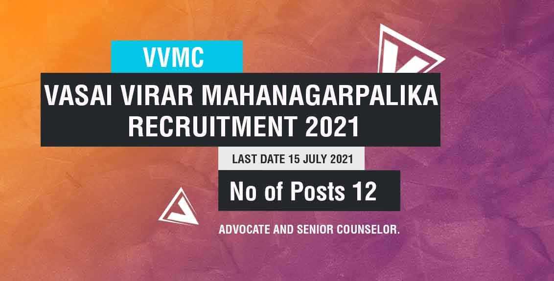 Vasai Virar Mahanagarpalika Recruitment 2021 Job Listing thumbnail.