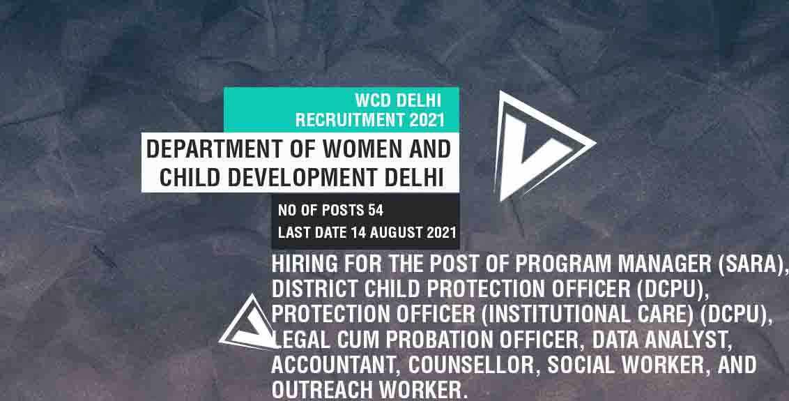 WCD Delhi Recruitment 2021 Job Listing thumbnail.