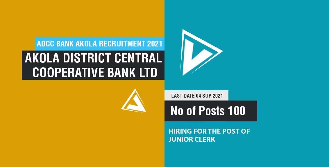 ADCC Bank Akola Recruitment 2021 Job Listing thumbnail.
