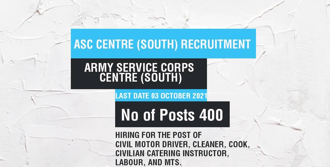ASC Centre (South) Recruitment Job Listing thumbnail.