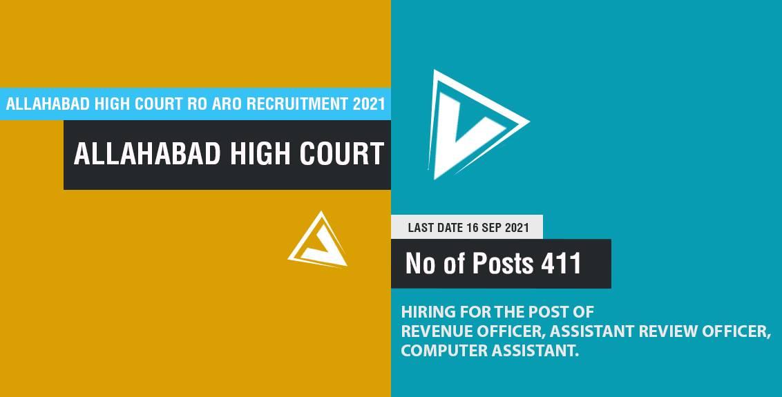 Allahabad High Court RO ARO Recruitment 2021 Job Listing thumbnail.