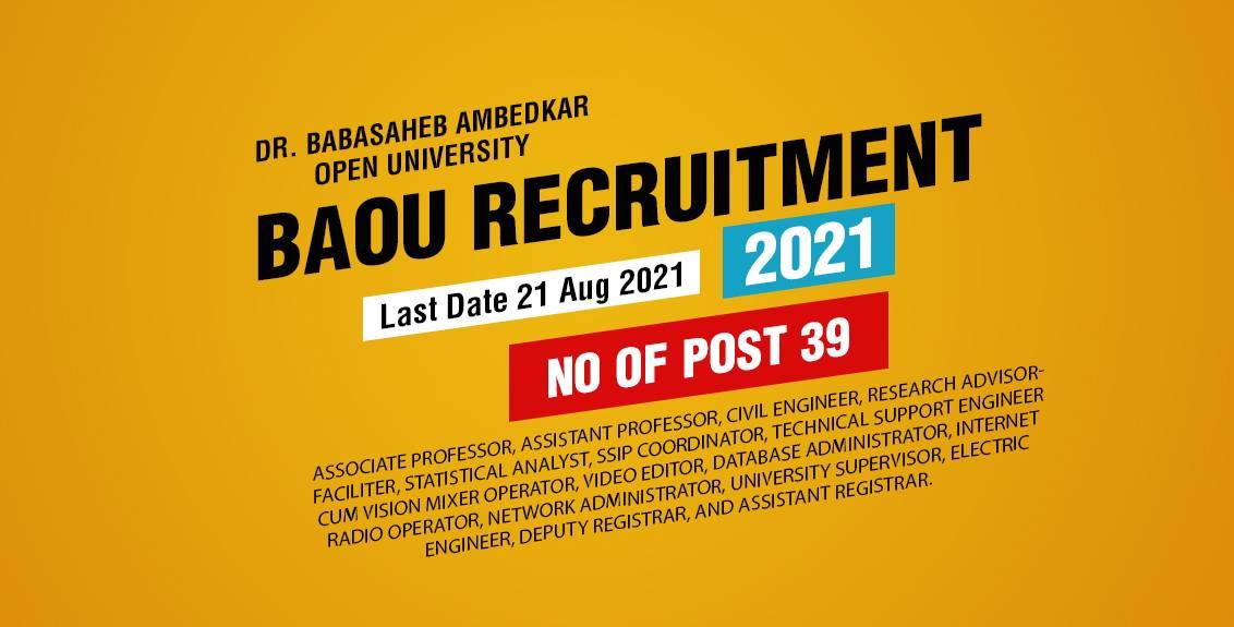 BAOU Recruitment 2021 Job Listing thumbnail.