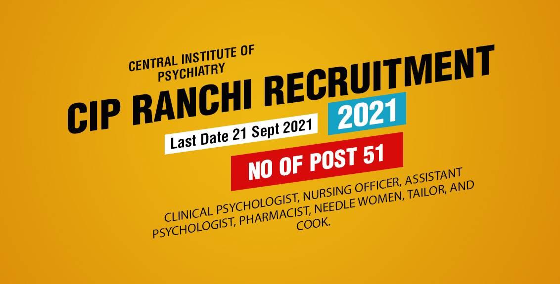 CIP Ranchi Recruitment 2021 Job Listing Thumbnail.