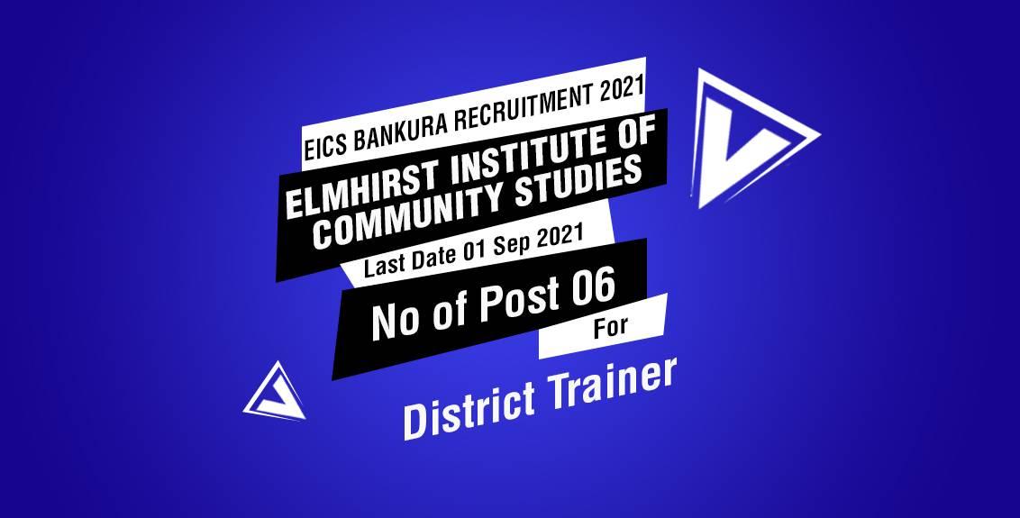 EICS Bankura Recruitment 2021 Job Listing thumbnail.