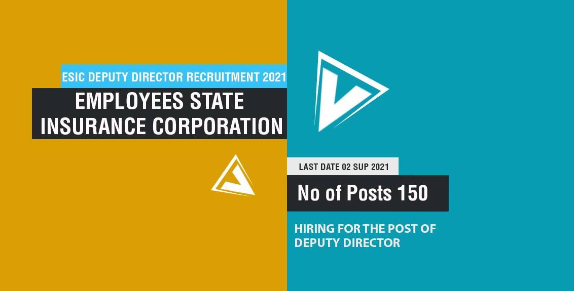 ESIC Deputy Director Recruitment 2021 Job Listing Thumbnail.