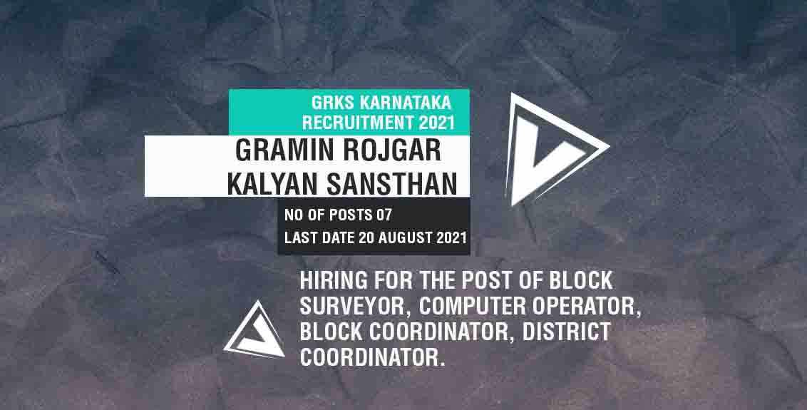 GRKS Karnataka Recruitment 2021 Job Listing thumbnail.