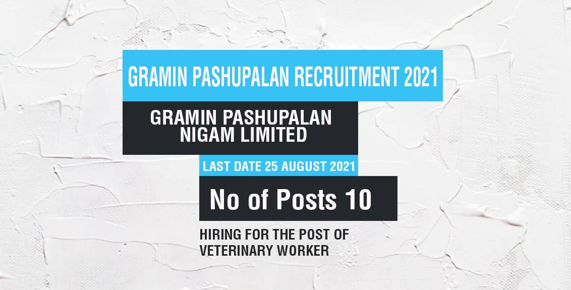 Gramin Pashupalan Recruitment 2021 Job Listing thumbnail.