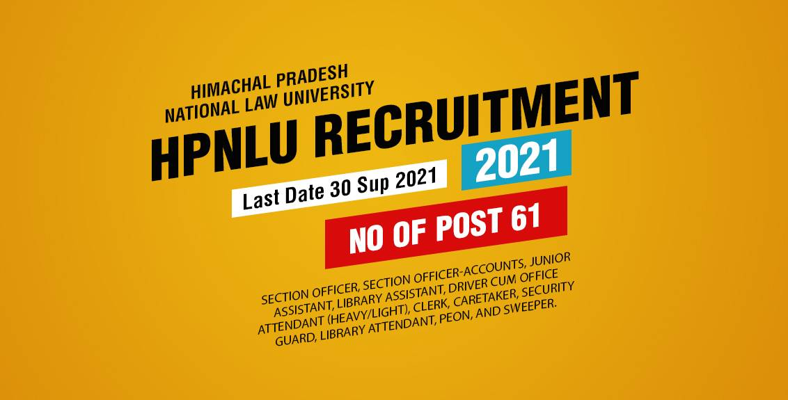 HPNLU Recruitment 2021 Job Listing thumbnail.
