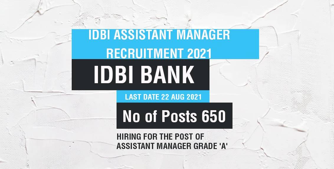 IDBI Assistant Manager Recruitment 2021 Job Listing thumbnail.