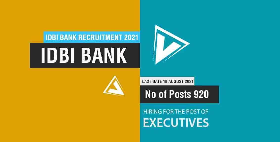 IDBI Bank Recruitment 2021 Job Listing thumbnail.