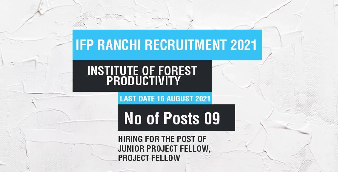 IFP Ranchi Recruitment 2021 Job Listing thumbnail.