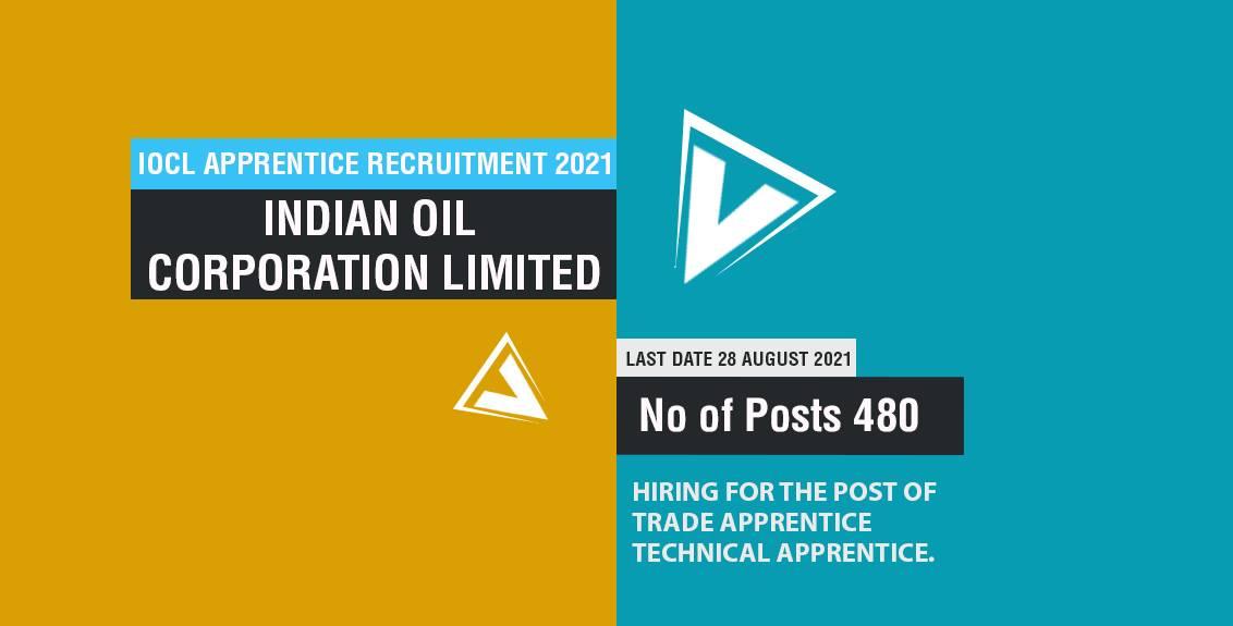 IOCL Apprentice Recruitment 2021 Job Listing thumbnail.