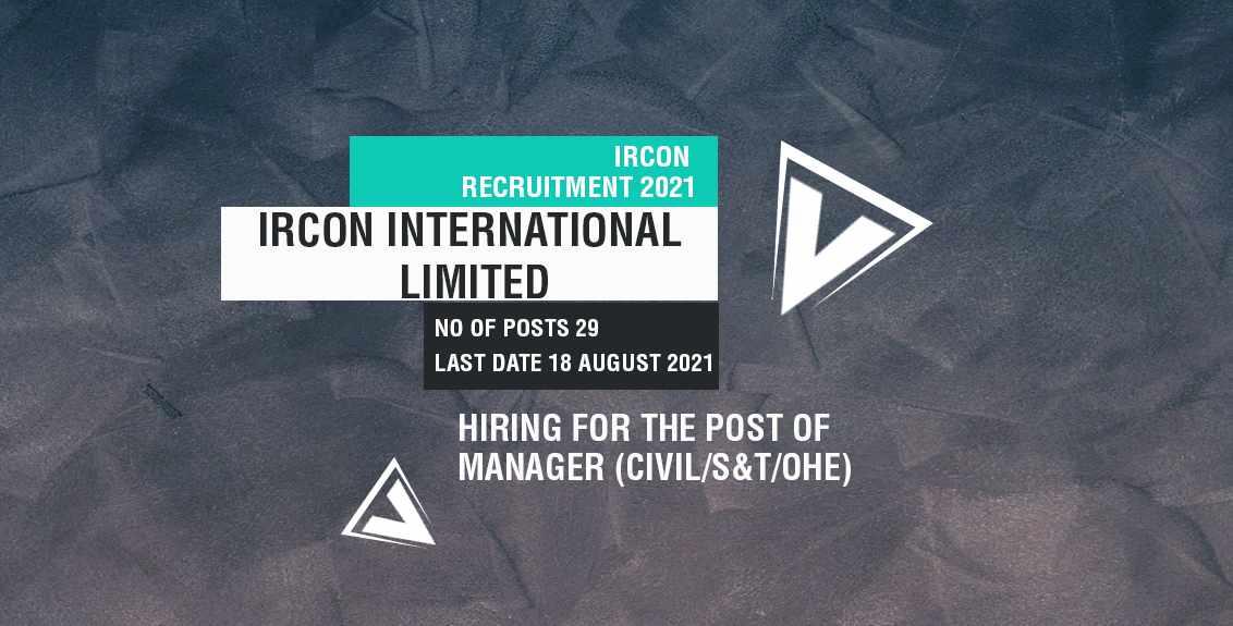 IRCON Recruitment 2021 Job Listing thumbnail.