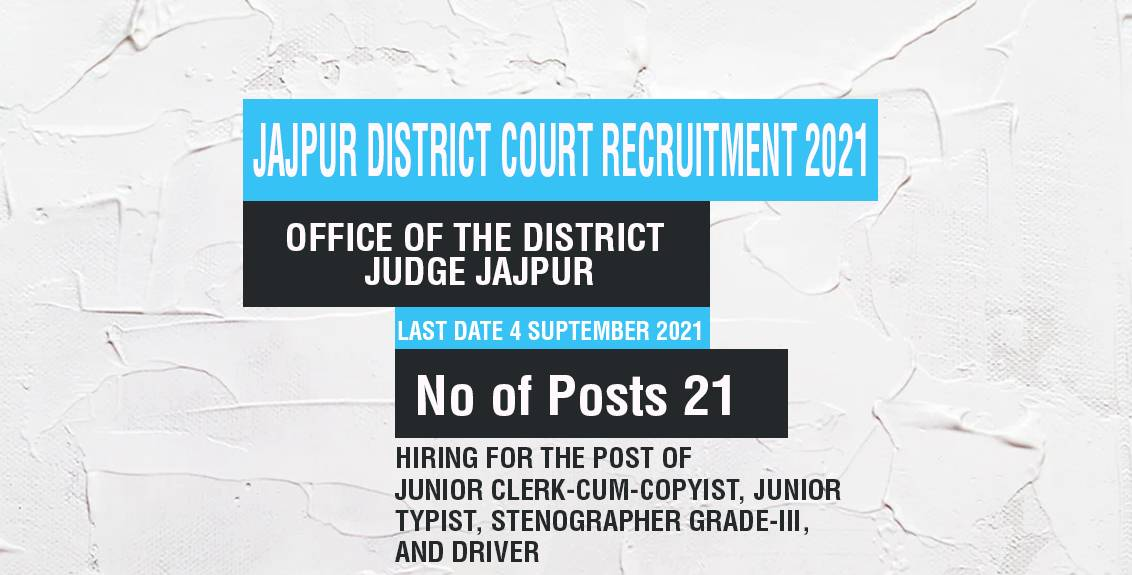 Jajpur District Court Recruitment 2021 Job Listing thumbnail.