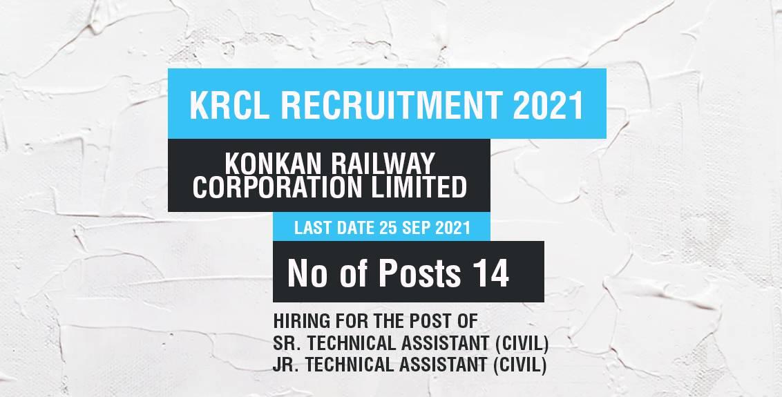 KRCL Recruitment 2021 Job Listing thumbnail.