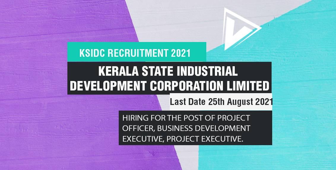 KSIDC Recruitment 2021 Job Listing thumbnail.